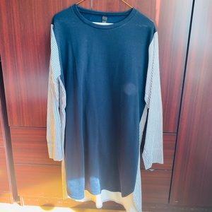 BLUE STRIPE SWEATER DRESS